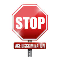 stop, age discrimination road sign.