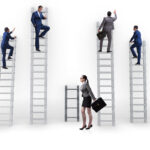 Four male work ladders go high, female one is not highlighting gender discrimination
