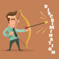 Man shooting an arrow towards the word discrimination