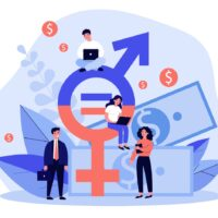 Employees gender salary equality. Business people with laptop working at cash and equal sign. Vector illustration for social respect, discrimination, diversity concept